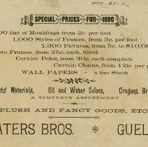Image of .1 Back of Advertising Card, Waters Bros.