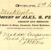 Image of Invoice from Alex. B. Petrie, Druggist, 1870
