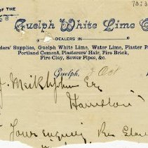 Image of Letterhead, Guelph White Lime Co., 1890