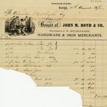 Image of Invoice, John M. Bond & Co., 1870