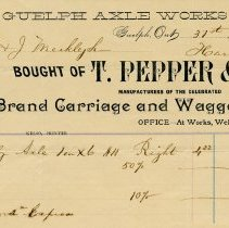 Image of Receipt from T. Pepper & Co., Guelph Axle Works, 1892