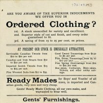 Image of Clothing Advertisement, E. R. Bollert & Co.