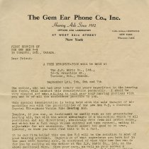 Image of Gem Ear Phone Co. Advertising Letter