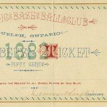 Image of Athletic Base Ball Club Membership Ticket, 1882