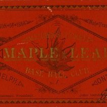 Image of Maple Leaf Baseball Club Member's Ticket, 1884
