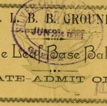 Image of Maple Leaf Base Ball Club Admission Ticket, June 22, 1886