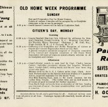 Image of Old Home Week Programme for Sunday and Monday