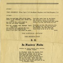 """Image of Order of Service; """"In Flander Fields"""""""