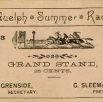 Image of Guelph Summer Horse Races Grand Stand Ticket, 1888