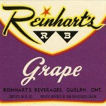 Image of Bottle Label for Reinhart's RB Grape Soda