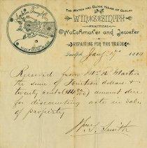 Image of Receipt from Wm. S. Smith, Jeweler, 1884