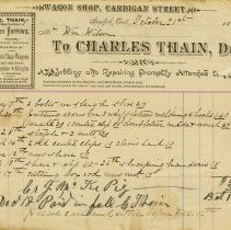 Image of Invoice from Charles Thain, Wagon Shop, 1884