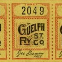 Image of Strip of 3 Guelph Street Railway Fare Tickets for School Children