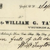 Image of Receipt from Wm. G. Taylor, Veterinary Surgeon, 1862
