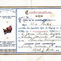 Image of Certificate, Confirmation Front