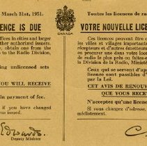 Image of Renewal Notice for Radio Licence, March 1951