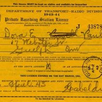 Image of Private Receiving Station Licence for Dora E. Paul