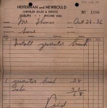 Image of Repair Bill from Heffernan & Newbould