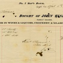 Image of Invoice, John Risk, Grocer, 1871