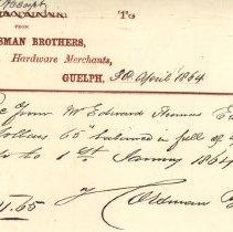 Image of Receipt, Horsman Bros., 1864