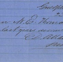 Image of Handwritten Receipt from David Allan, Guelph Mills, 1882