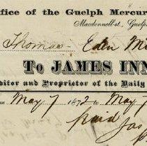Image of Guelph Mercury Invoice, 1872