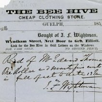 Image of Receipt from The Bee Hive Cheap Clothing Store, 1859