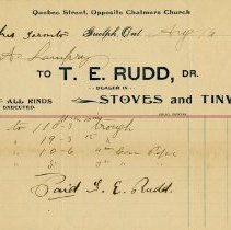 Image of Invoice from T.E. Rudd, Stoves and Tinware, 1902