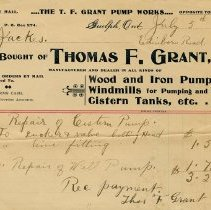 Image of Invoice, Thomas F. Grant, 1900