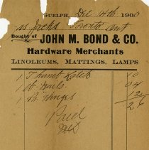 Image of Counter Bill from John M. Bond & Co., 1900