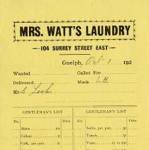 Image of Order Form/Invoice from Mrs. Watt's Laundry, c.1925
