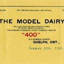 Image of The Model Dairy Letterhead, 1927