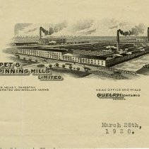 Image of Letterhead, Guelph Carpet & Worsted Spinning Mills Limited, 1930