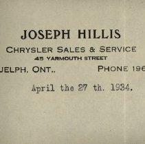 Image of Joseph Hillis' Letterhead, 1934