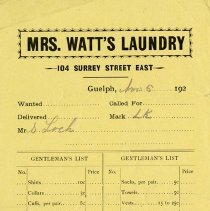 Image of Order Form / Invoice from Mrs. Watt's Laundry, c. 1925
