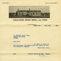Image of Letter from Brown's Excelsior Manufacturing Co., 1929