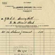 Image of James Goldie Co. Statement to Y.M.C.A. Dining Hall, 1926