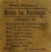 Image of Reverse side of Bonus Punch Card, E.R. Bollert & Co.