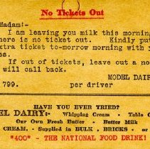 Image of Notice Re Lack of Milk Tickets