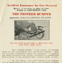 """Image of Advertisement for """"The Pioneer Bumper"""", The Verner T. Smith Company, c.1910"""