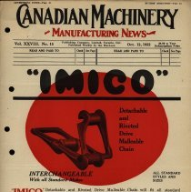 Image of Cover, Canadian Machinery Manufacturing News, 1922
