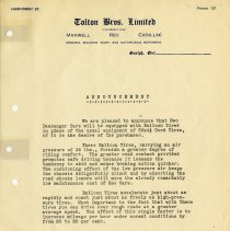 Image of Advertising Letter from Tolton Bros. Ltd., 1924