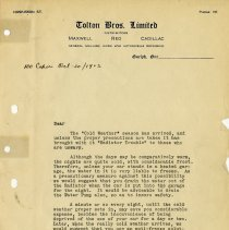 Image of Advertising Letter from Tolton Bros. Limited, 1923