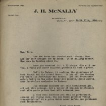 Image of Business Letter, J. H. McNally, 1924