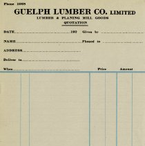 Image of Blank Quotation Form, Guelph Lumber Co. Limited, c.1925