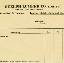 Image of Guelph Lumber Co. Limited Invoice, c.1925