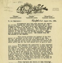 Image of Letter to Employees, Dalyte Electric, 1924