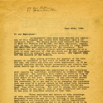 Image of Copy 1 of Letter to Employees, 1924