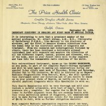 Image of Advertising Letter from The Price Health Clinic, 1939