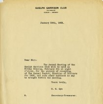 Image of Guelph Garrison Club Letter, 1925
